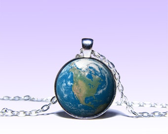 Planet Earth Charm Pendant  Planet NECKLACE Black Red Jewelery Charm Pendant for Him or Her
