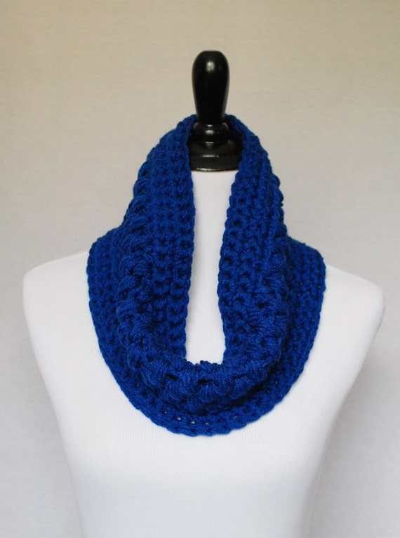Blue Crochet Cowl, Short Infinity Scarf, Navy Blue Neck Warmer, Puff Stitch Cowl