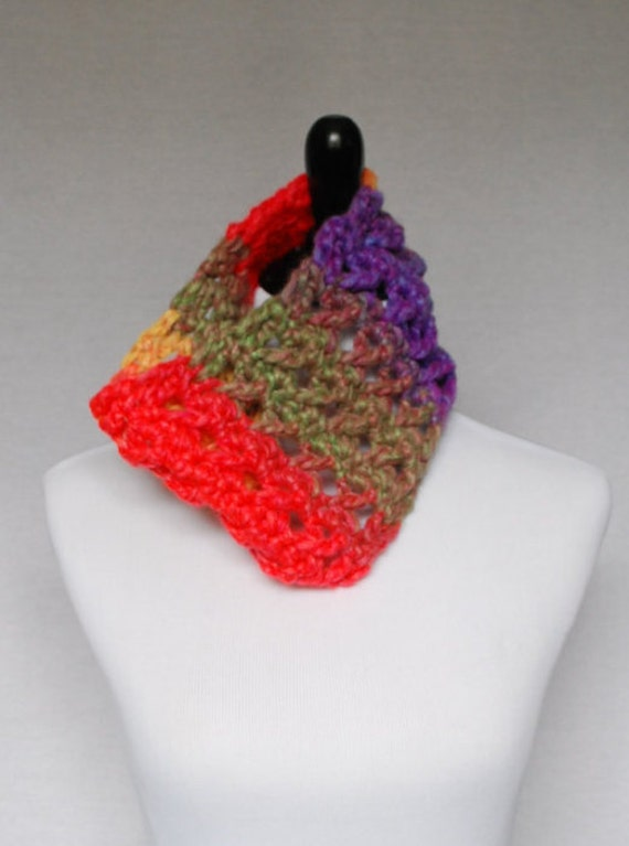 Red, Yellow, Green, Purple Crochet Cowl, Neck Warmer, Infinity Scarf -  Lightweight, Lacy, Open Cowl, Bright, Rainbow, Multi-Colored