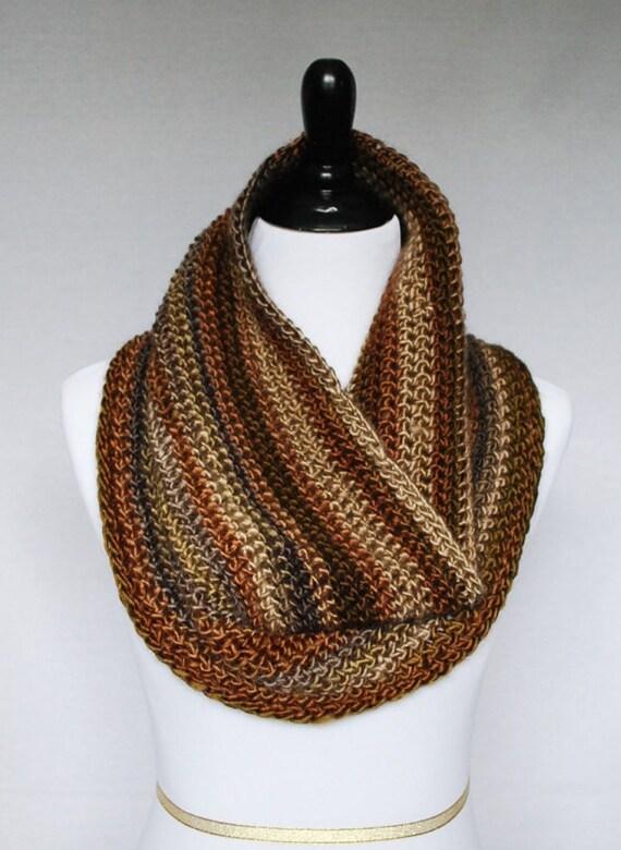 Brown, Tan Crochet Scarf, Striped Crochet Cowl, Brown Neck Warmer, Crochet Infinity Scarf  - Taupe, Beige