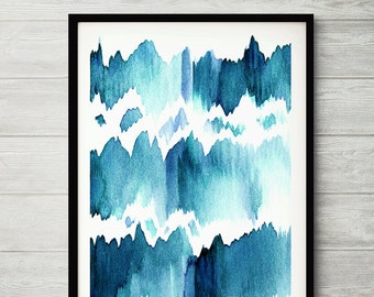 Water Mirror, watercolor painting, abstract painting, watercolor abstract, blue abstract print, watercolor abstract art, blue watercolor