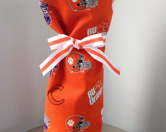 Clemson Tigers Wine Bag, Clemson Fabric Bag, Clemson Gift Bag, Clemson Fabric Bag
