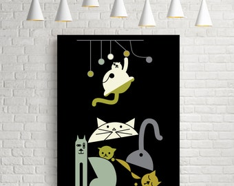 Cats, cat print, cat art print, cat poster, cat party, cat art, cat wall art, cat lover gift, cat illustration, animal poster, pet art