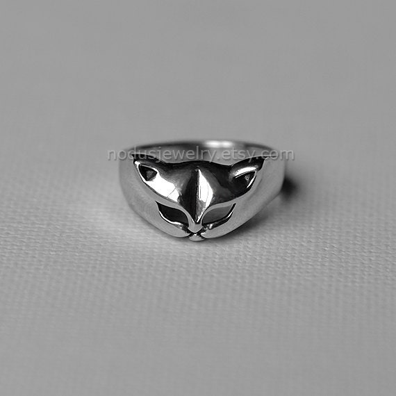 cat ring sterling silver ring cat ring cat by