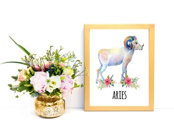 Watercolor Wall Decor Astrology Art Aries Print Aries Sign Aries Zodiac Aries Wall Art Aries Poster Aries PRINTABLE Gifts for Aries Floral