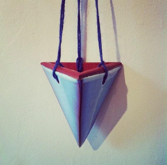 Hanging Light With Planter: Light Blue Glaze Pyramid Hanging Planter Handmade Ceramic