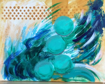 """Small turquoise & gold abstract acrylic painting Apartment  wall art Modern home decor Original fine art """"Dancing Balls"""" 11x14"""" on canvas"""