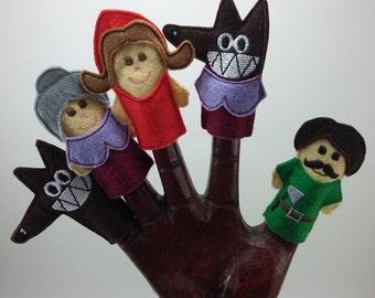Marionetas del Cuento de Caperucita Roja. Felt Finger Puppets Little Red Riding Hood. 5 Títeres de Dedo. Caperucita Lobo Abuelita y Leñador