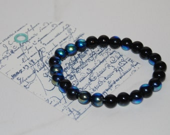 Color Changing Blue & Black Stones Bead Bracelet
