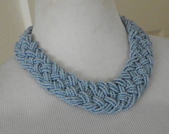 woven blue seed chunky vintage necklace