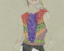 "Fashion Illustration Watercolor, Gicleé Art Prints, ""Rainbow Lady"", Samantha Burns, Samantha Illustration"