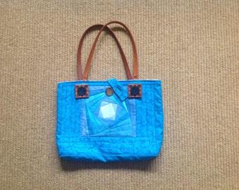Turquoise Blue Patchwork Handbag