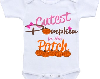 Baby shower gift Fall Onesie Cutest pumpkin on the patch fall baby outfit, My first fall outfit,Fall season outfit,babyshower gift baby girl