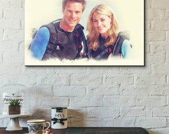 Custom Canvas Realistic Watercolour Couple Portrait Painting - Print - Wedding - Anniversary Gift - Personalized Artwork
