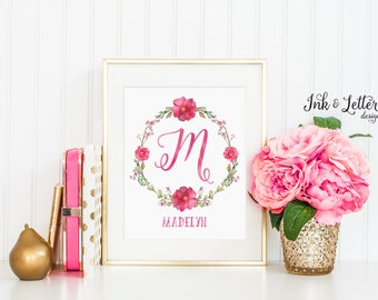 Personalized Name Print - Custom Girl Nursery Decor - Pink Nursery Wall Art - Personalized Baby Girl Gift - Digital Printable