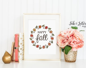 Happy Fall Wall Decor - Happy Fall Sign - Fall Wall Art - Autumn Home Decor - Leaf Print - Instant Download - Digital Print - 8x10