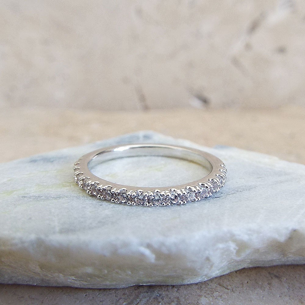 Eternity Ring 1.5 mm White Gold Plated High Quality CZ Diamond Stacking half Eternity Ring Rhodium 1/2 Eternity Micro Pave Thin Wedding Band