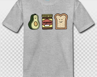 The Perfect Combo- Avocado and Vegemite Toast printed Cotton T shirt Top Baby Kids