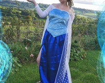 Adult Elsa Frozen inspired costume, blue woman's Disney Princess dress and cape. SALE