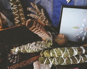 Homegrown and handmade Cedar and Cedar/Lavender organic smudge stick