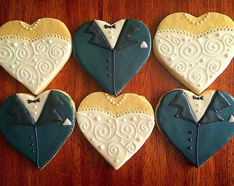 One Dozen - Bride and Groom Heart Cookies - Bridal Shower Party Favors
