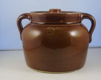 Brownware Bean Pot with Lid.