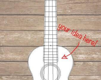 CUSTOM designed ukulele - Your idea hand-painted onto a ukulele!