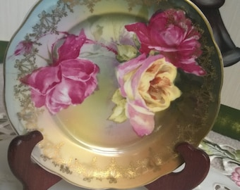 Antique J&C Senta Plate, Hand Painted with Roses and Gold Trim