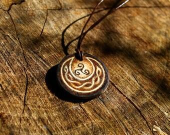 Triskele Moon Celtic Pyrography Pendant