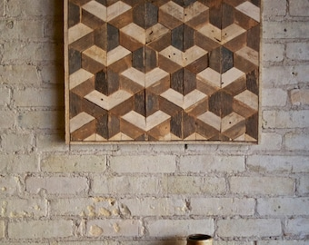 Reclaimed Wood Wall Art, Decor, Lath, Pattern, Geometric, Hexagon, Tessellation 24 x 24