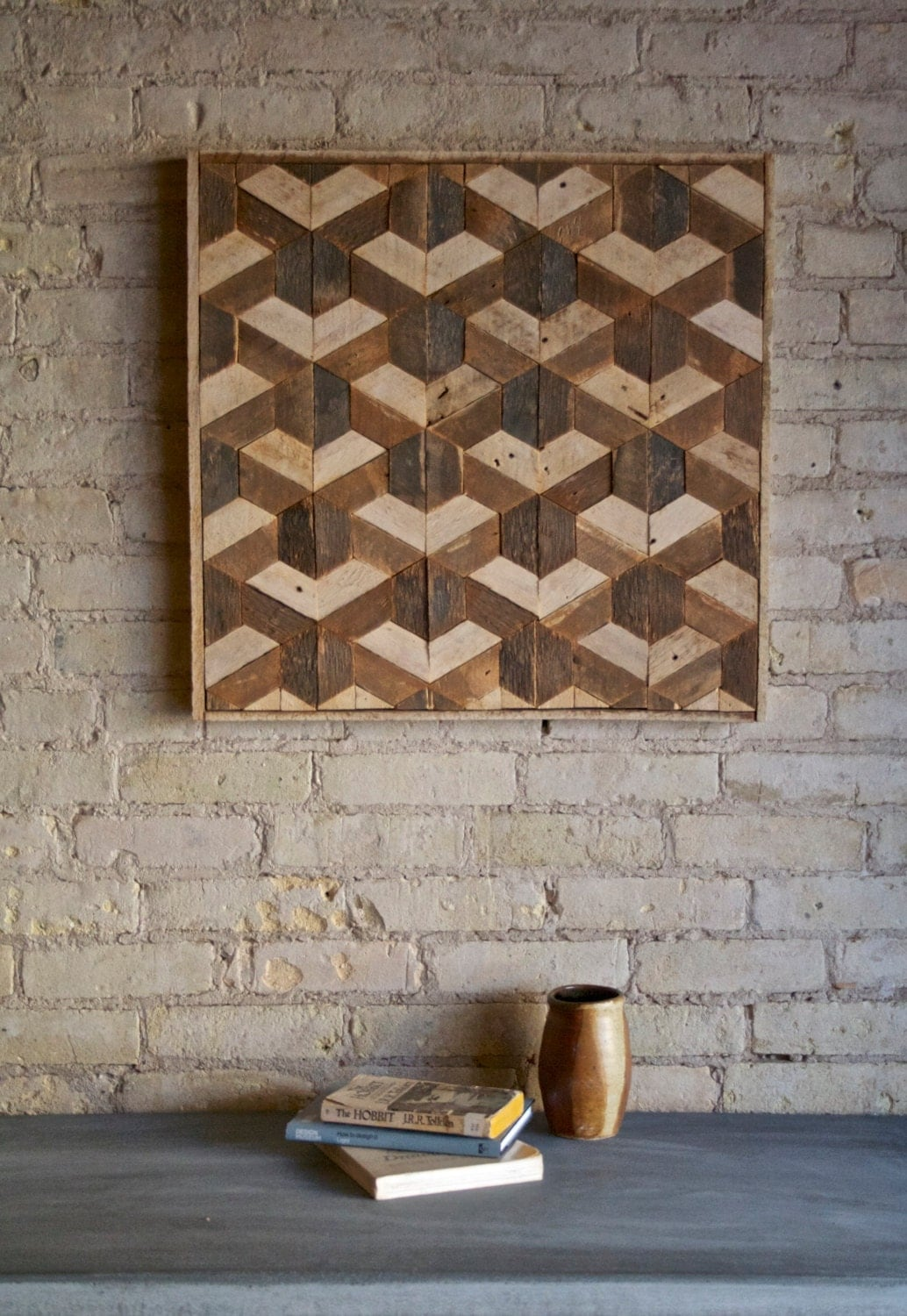 Wood Wall Designs : Reclaimed wood wall art decor lath pattern geometric