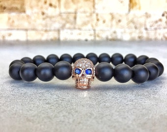 Rose Gold Plated Skull Bracelet, Mens Skull Bracelet, Man Bracelet, Bracelet For Men, Gold Skull Bracelet, Gemstone Bracelet, Man Skull