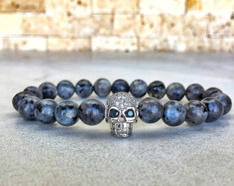 White Gold Plated Skull Bracelet, Mens Skull Bracelet, Man Bracelet, Bracelet For Men, Gold Skull Bracelet, Gemstone Bracelet, Skull