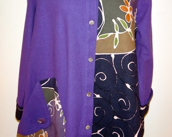 Pepperberry -Purple Long Button-down Blouse or Jacket with Hand Dyed Batik Fabric - FA11-4006