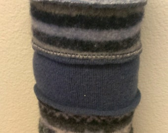 Recycled Felted Wool Sweater Cat (blues & grays)