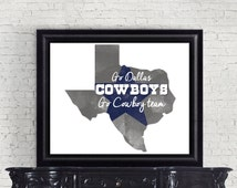 Dallas Cowboy Decor - Printable  - Cowboy Wall Art - Texas Decor - Cowboy Decor - Professional Football - Gifts for Him - Back to School
