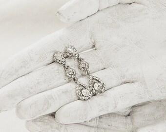 Crystal Bridal Earrings - Wedding Jewelry - Teardrop Earrings - Dangle Earrings - Statement Earrings - Bridesmaid Jewelry - CZ Jewelry