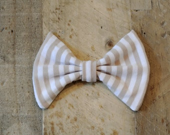 The Sawyer Bow, Striped Bow Headband OR Bow Tie, Tan and White Bow Headband, Baby Bow Headband, Toddler Bow Headband, Pretty Bow Tie