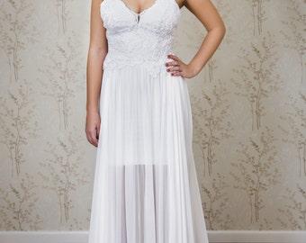 Silk chiffon wedding dress/Simple Bohemian style wedding dress/Perfect beach wedding gown/spaghetti strap wedding dress