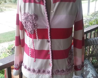 Pink, white and red striped sweater with fun yo yo and rickrack trim