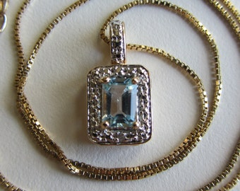 Sterling Silver 10k Yellow Gold Vermeil Topaz Pendant Necklace With Box 18""