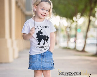 Unicorn T-Shirt Girls T Shirt Children Clothing Top Quote Shirt