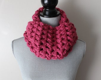 Pink Crocheted Chunky Cowl