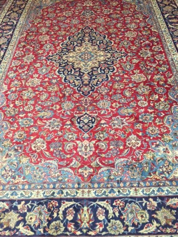 "9'1"" x 12'6"" Persian Mashad Oriental Rug - 1980s - Hand Made - 100% Wool - Full Pile - Vintage"