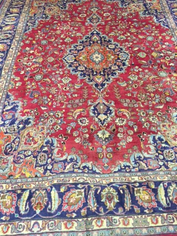 "9'9"" x 12'7"" Persian Mashad Oriental Rug - 1980s - Hand Made - 100% Wool - Full Pile - Vintage"