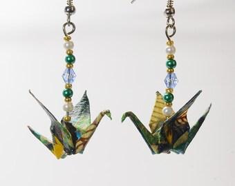 """Earrings in origami """"Cranes Tropicales"""""""