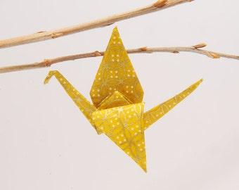 """Origami """"crane glitter gold"""" brooch"""
