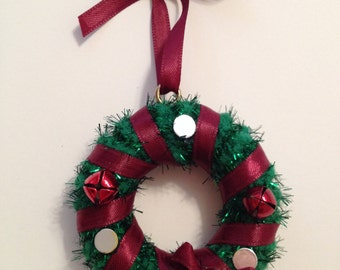 Burgundy & Silver Mini Christmas Wreath Ornament