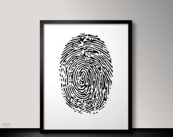 Fingerprint art, Black and white printable wall art, Black and white wall art, Instant download printable art, Black and white art print