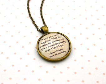 Sense & Sensibility, 'Call It Hope', Jane Austen Quote Necklace or Keychain